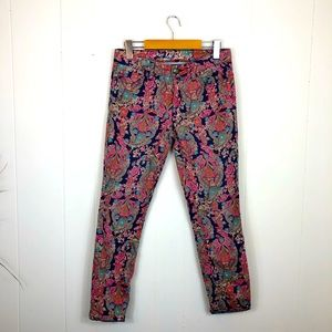 Tommy Hilfiger Paisley Skinny Ankle Cropped Sz 2